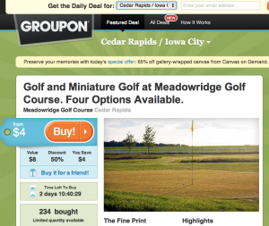 Groupon website page for Cedar Rapids/Iowa City, IA