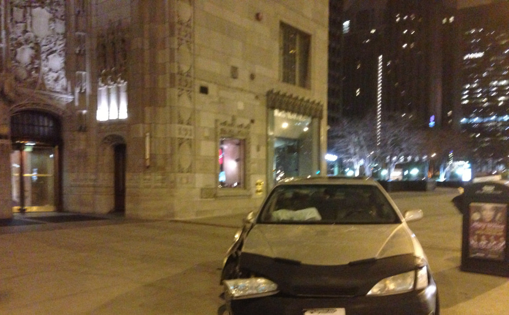 Car Narrowly Misses the Allstate Showcase Studio at WGN Radio 720 AM on Magnificent Mile